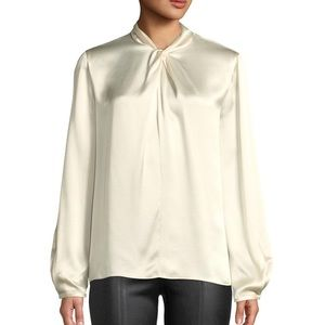 Vince Knotted High-Neck Long Sleeve Ivory Blouse